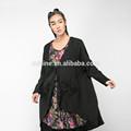 2014 outono manga longa renda vintage matérias-primas bordas emenda natural algodão maxi hem black blusa senhoras