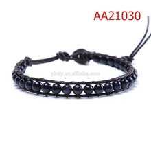(AA21030)Wonderful Larvikite Leather Woven Bracelet Meaning Success
