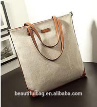 canvas bag with leather trim fashion handbag/shoulder bag