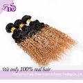 2014 nueva tendencia sin procesar virgen de brasil rizado ombre 1b-27 dos tono de pelo trenzado