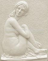 White Nude Woman Stone Figure Wall Murals
