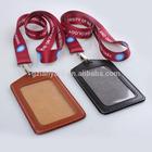 Fashion leather lanyard id card badge holder
