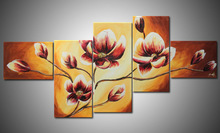 Flower grouped painting on canvas modern