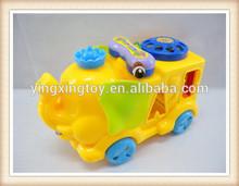 Pull string plastic elephant brick block phone toy
