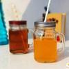 450ml fruit glass with handle and metal lid &straw mason jar