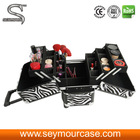 Wood Makeup Case Professional Makeup Trolley Case Rolling Beauty Case Made Of ABS Pink Crocodile