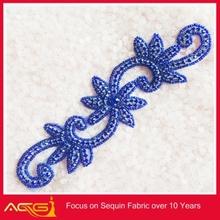 wholesale bridal crystal rhinestone applique cotton crochet flowers appliques