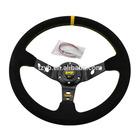 14inch OMP Deep Corn Suede Leather wrap Drifting Steering Wheel