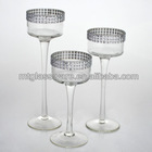 set 3 crystal clear glass candle holder with long stem for wedding party holiday
