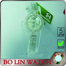 lady watch/brass case/high grade IP Silver/rhinestones/japan mvement/water resistant, watch pearls women