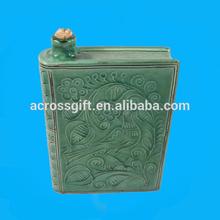 hand-painted ceramic book