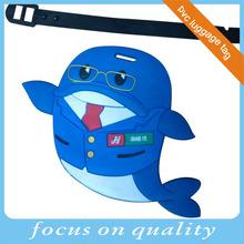 blue color fish design baggage tag vinyl address label for airline pomotion