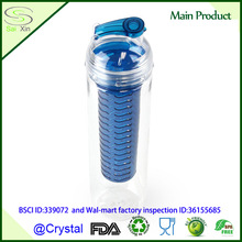 Hot Sale BPA free 800ml Tritan Blue Fruit Infuser Water Bottle