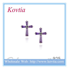 Women accessories jewelry purple crystal cross 925 sterling silllver stud earring