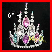 Beauty Colored Crystal Gossip Girls Jewelry Tiara, Large India Wedding Tiara