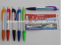 2014 simple design transparency plastic banner ball pen