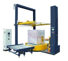 Fully automatic online pallet wrapping machine&top film sheet/dispenser system for pallet
