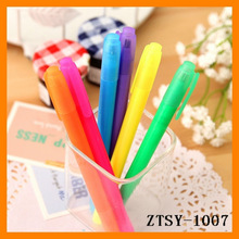customize cheap candy color plastic double-end plagiocephalia promotional nite writer pen ZTSY-1007