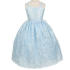 Glorious Spaghetti Straps Ball Gown Bowsknot Sequin Flower Girl Dress Blue