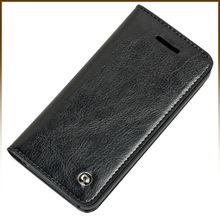 Card Holder Genuine Flip Wallet Leather Case Cover For Apple iPhone 5S 5 Black
