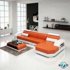 Modern orange heated leather sofa cow leather sofa