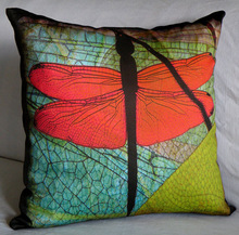 cheap wholesale soft natural style 3D printed dragonfly cushion