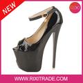 el último 2014 de lujo sexy peep toes19cm de tacón partido zapatos de vestir con 9cm plataforma de las mujeres