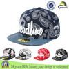 wholesale 6089 yupoong embroidery bandana paisley snapback hat/cap with flat leather brim