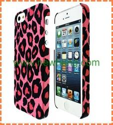 Leopard design rubber finish PC case for iPhone 5