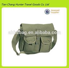 Multi-function Best Sell Men's Canvas 12 inch Laptop Messenger Bag Travel Messenger Bag -Army Green