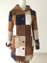 Ladies' fashion patchwork faux suede long coat with hood