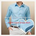 Uomini elegante manica lunga cielo blu 100% vestito di lino camicia