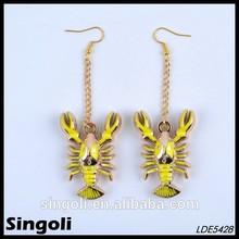 Fashion yellow enamel cute lobster dangle earring