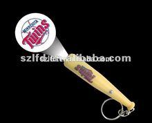 promotional item led flashlight baseball keychain, custom sport team baseball projector keychain,led projector baseball keychain