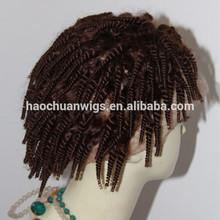 Hot sale virgin brazilian hair short afro kinky hair full lace wig for black men