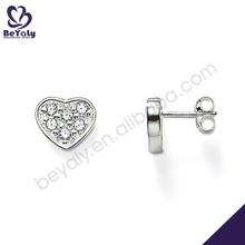 Brilliant shiny wholesale cz heart silver nice zircon earring