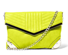 2014 Fashion Neon Green Ladies Shoulder Bag Quilted PU Cross Body with Chain Shoulder Handle Clutch Bag From Bag Manufactory