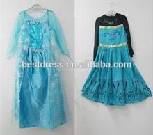frozen elsa dress wholesale new 2014 girls princess lace blue dresses elsa and anna dress baby & kids clothes