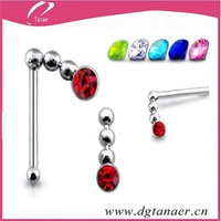 Stainless steel crystal diamond nose stud with ball