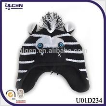 Handmade crochet cartoon hat Stereoscopic 3D cartoon design zebra child hat