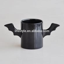 Black Ceramic Coffee Mug with Wings