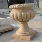 Villa garden decoration carved stone gibson guitar yellow green glass vase