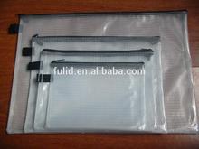 printed Transparent pvc Mesh Zipper bag PVC Documents Pouch/ File Folder