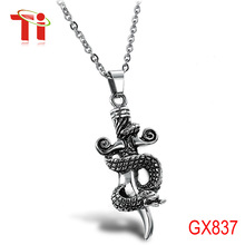 Personalized Stainless Steel snake &Sword Cross Pendant Jewelry