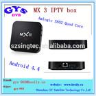 MX3 quad core iptv Amlogic S802 Quad Core 1GB/2GB ram 8GB rom dual band wifi android mini pc tv box MX 3 quad core smart tv box