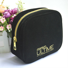 Fashion black suede puches /cometic bag for promotion