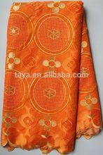 Factory comfortable and elegant 100%cotton big swiss voil laces 2063 orange