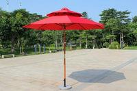 Beach umbrella wind resist wooden pole double tip DH-3004