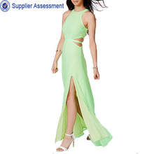 Fashion sexy green cut out maxi plain dyed dress ladies casual pictures of party dresses
