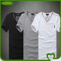 2014 latest 100 % polyester v-neck pure pocket short sleeve t-shirt